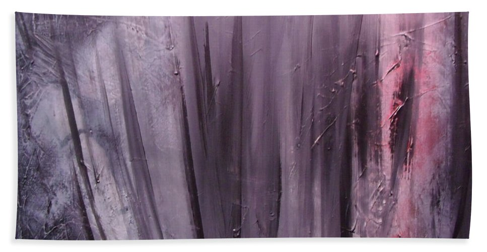 Abstract Bath Towel featuring the painting Behind shadows by Sergey Bezhinets
