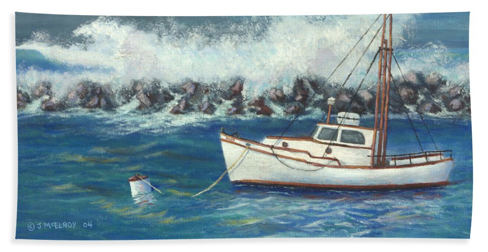 Ocean Hand Towel featuring the painting Behind The Breakwall by Jerry McElroy