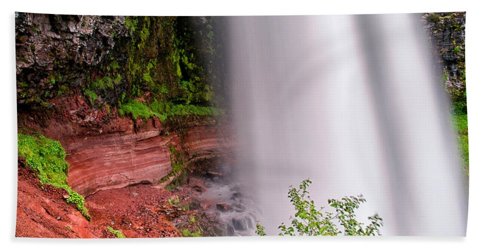 Water Bath Sheet featuring the photograph Behind The Falls by Cat Connor