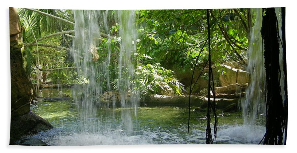 Miami Zoo Florida Waterfall Water Pool Hand Towel featuring the photograph Behind The Falls by John Wall
