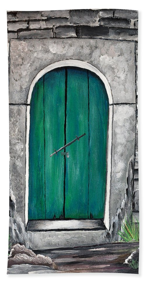 Bath Sheet featuring the painting Behind The Green Door by Sherry Allen