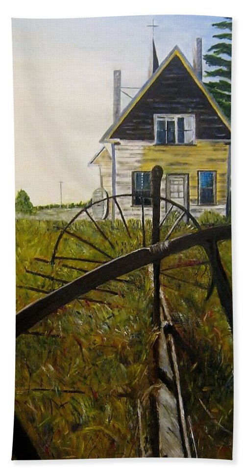 Church Hand Towel featuring the painting Behind The Old Church by Marilyn McNish