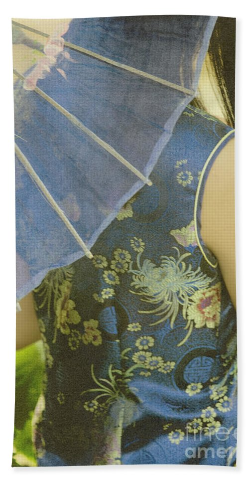 Chinese; Woman; Female; Lady; Pretty; Beautiful; Feminine; Prim; Proper; Umbrella; Shade; Parasol; Cover; Brunette; Decor; Ornate; Orient; Oriental; Leaves Hand Towel featuring the photograph Behind The Umbrella by Margie Hurwich