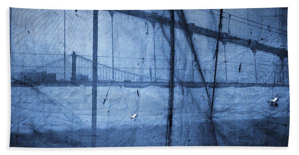 Manhattan Bridge Hand Towel featuring the photograph Behind The Veil - New York City by Madeline Ellis