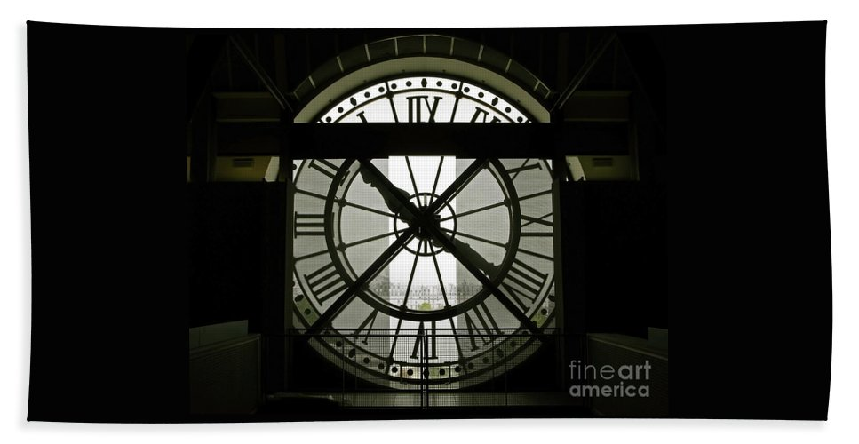 Clock Hand Towel featuring the photograph Behind Time by Ann Horn
