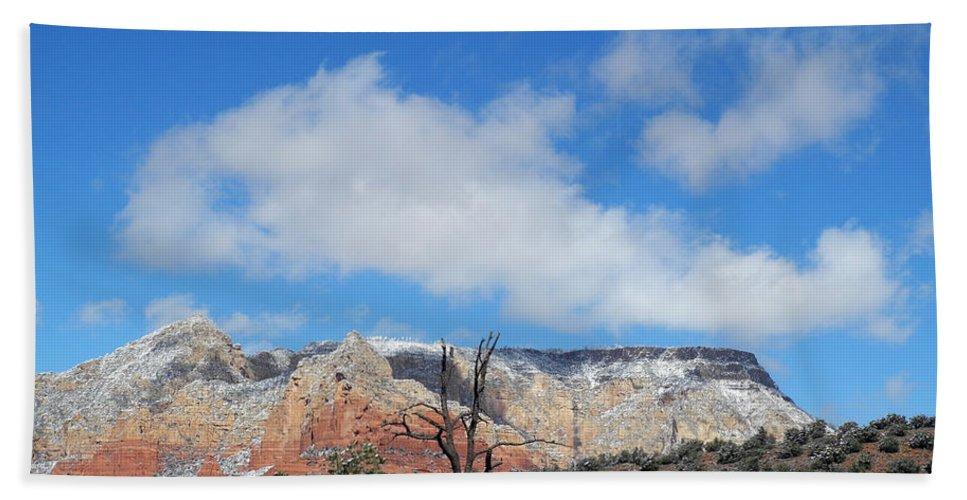 Snow Hand Towel featuring the photograph Behold The Blue Sky by Lynda Lehmann