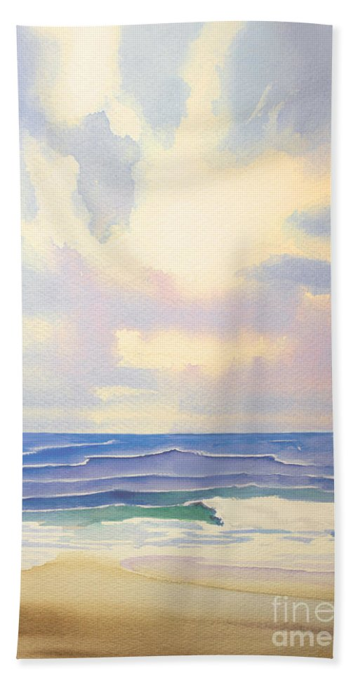 Seascape Hand Towel featuring the painting Behold The Glory by Barbara McMahon