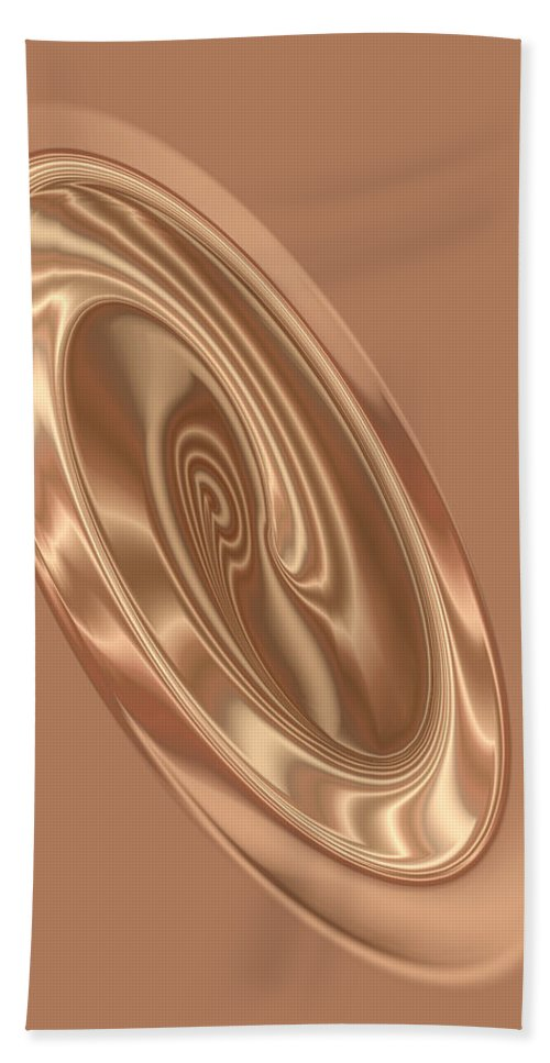 Abstract Hand Towel featuring the digital art Beige Satin Oval 1 by Judi Suni Hall
