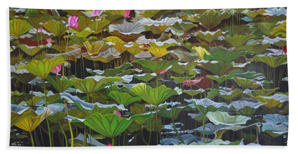 Waterlily Bath Sheet featuring the painting Beijing In August by Thu Nguyen