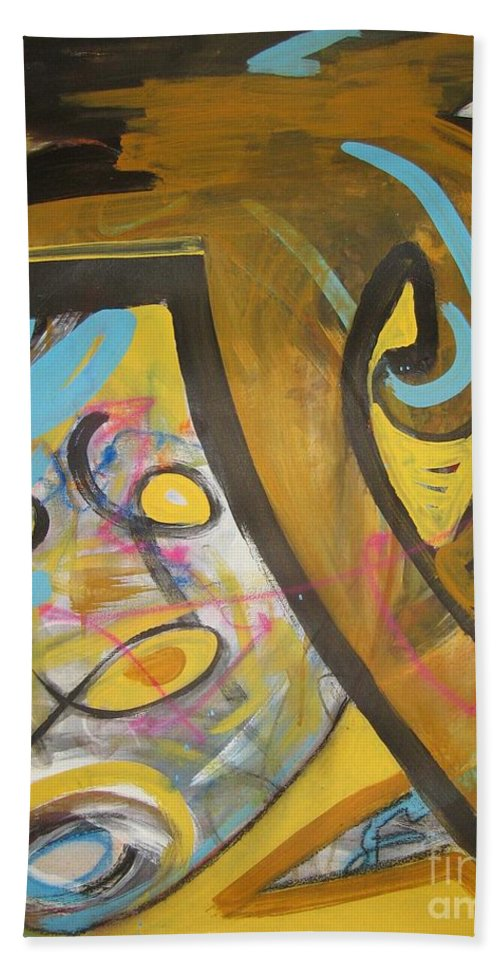 Abstract Bath Towel featuring the painting Being Easy Original Abstract Colorful Figure Painting For Sale Yellow Umber Blue Pink by Seon-Jeong Kim