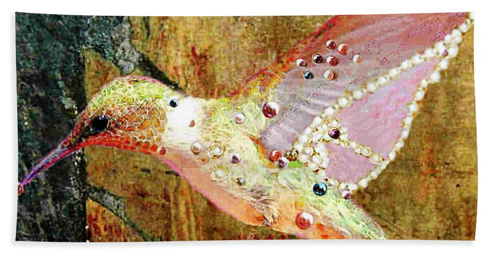 Bird Bath Sheet featuring the photograph Bejeweled Hummingbird by Ellen Cannon