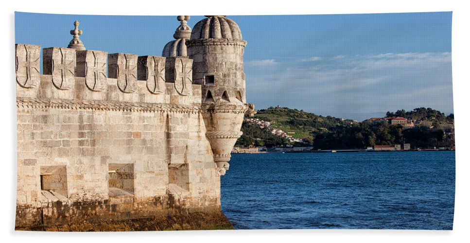 Lisbon Bath Sheet featuring the photograph Belem Tower Fortification On The Tagus River by Artur Bogacki