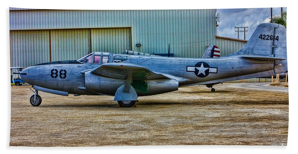 Bell Bath Sheet featuring the photograph Bell P-59 Airacomet by Tommy Anderson