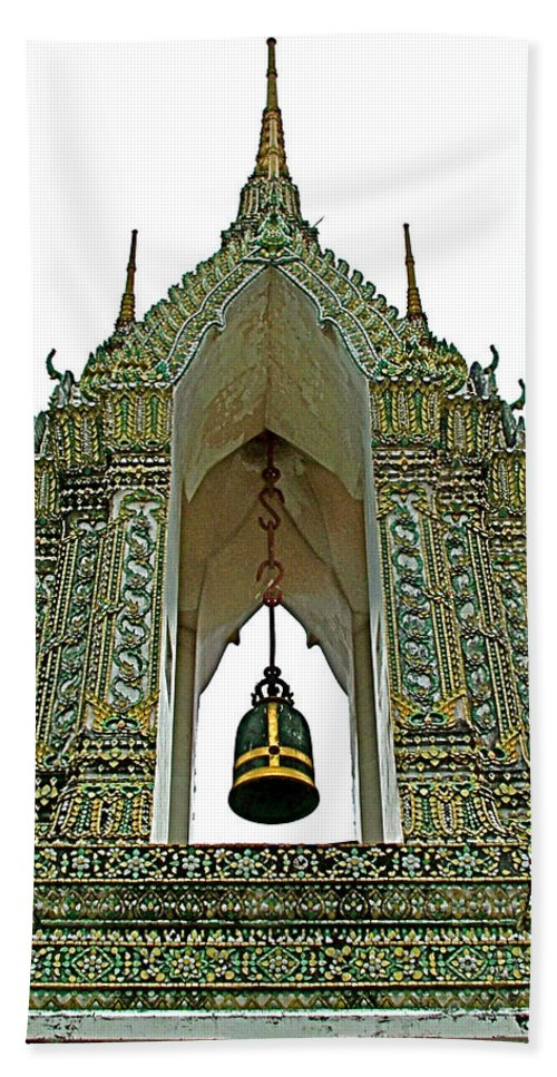 Bell Tower In Wat Po In Bangkok Hand Towel featuring the photograph Bell Tower In Wat Po In Bangkok-thailand by Ruth Hager