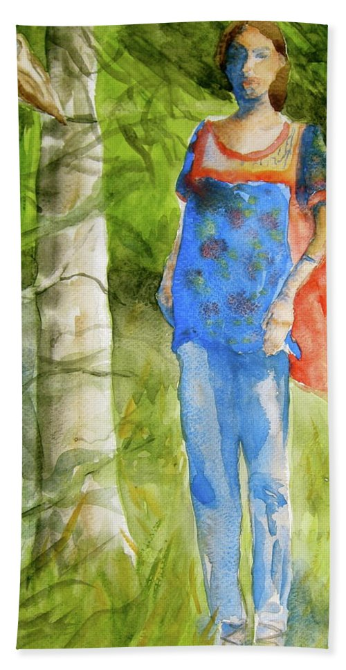 Figure Bath Sheet featuring the painting Bella Emerges by Beverley Harper Tinsley