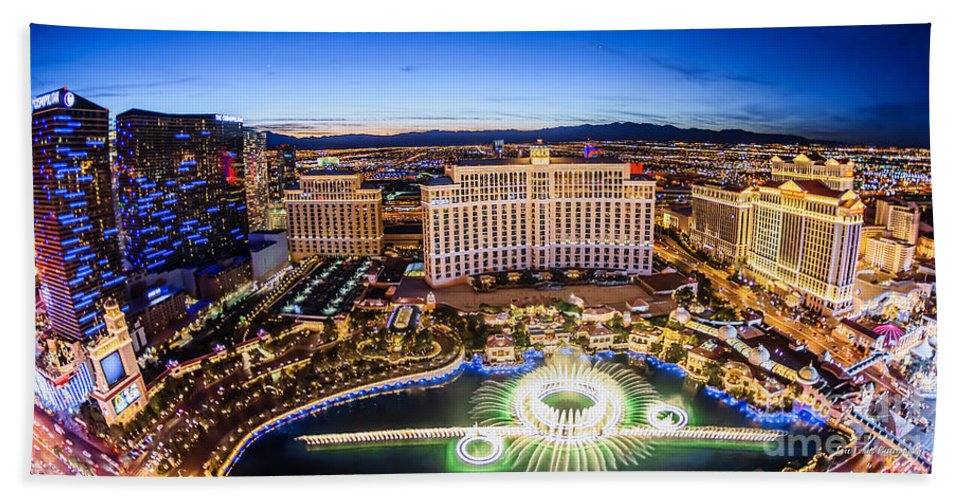 Bellagio Bath Sheet featuring the photograph Bellagio Rountains From Eiffel Tower At Dusk by Aloha Art