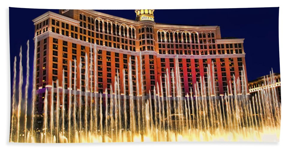 Bellagio Water Show Bath Sheet featuring the photograph Bellagio Water Show by Mariola Bitner