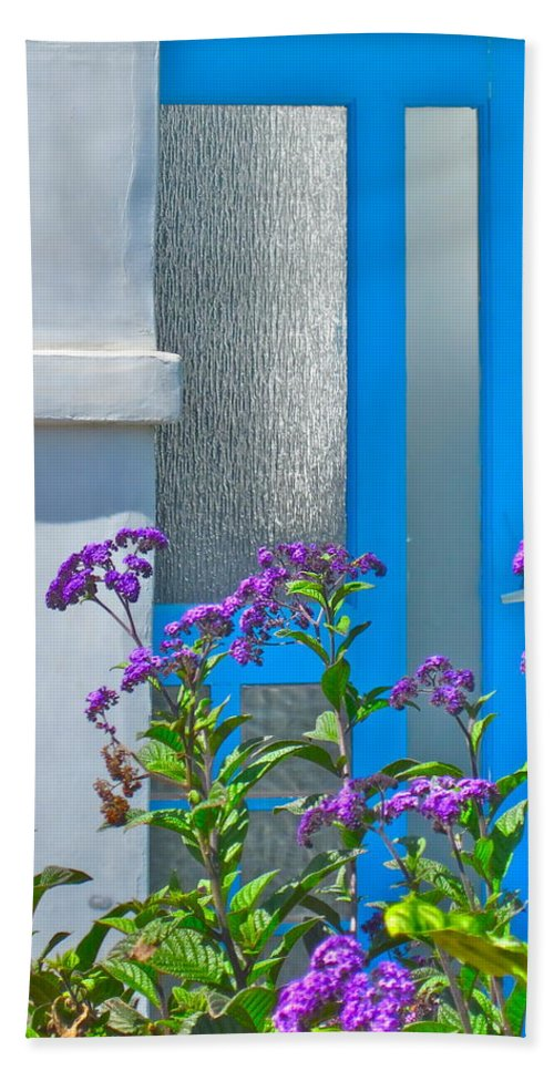 Photograph Of Door Bath Sheet featuring the photograph Belmont Shore Blue by Gwyn Newcombe