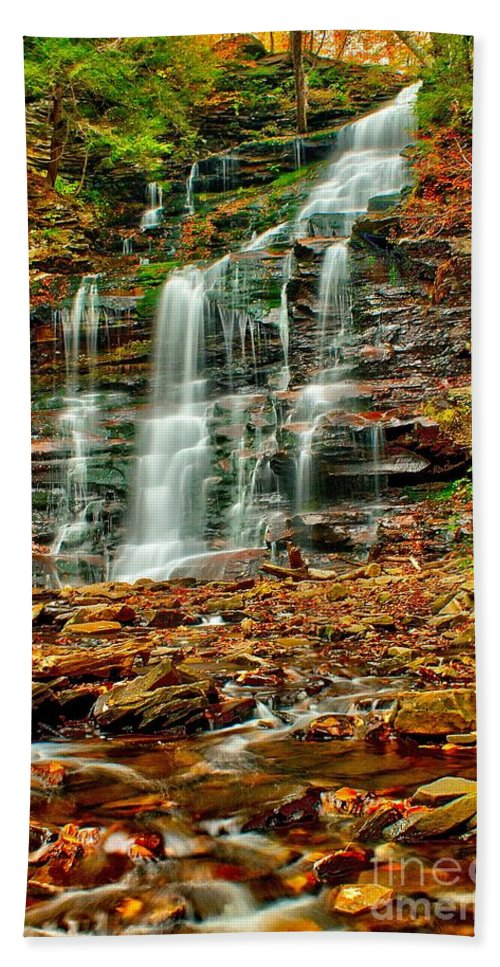 Waterfall Bath Sheet featuring the photograph Below Ganoga Falls by Nick Zelinsky