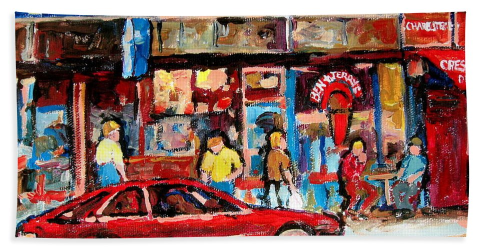 Cafescenes Hand Towel featuring the painting Ben And Jerrys Ice Cream Parlor by Carole Spandau
