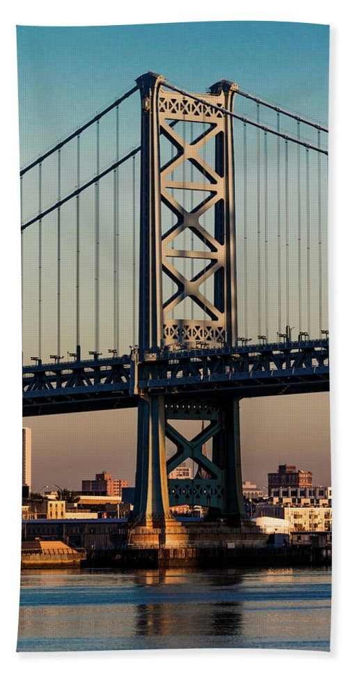 Photography Bath Sheet featuring the photograph Ben Franklin Bridge Over Delaware River by Panoramic Images