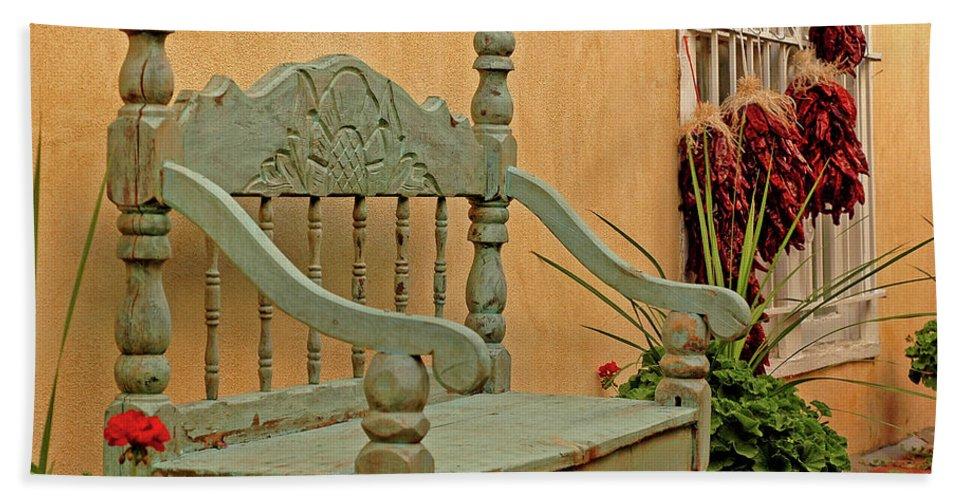 Santa Fe Bath Sheet featuring the photograph Bench by George Buxbaum