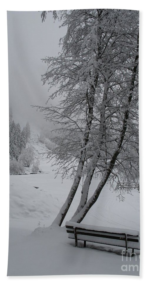 Bench Bath Sheet featuring the photograph Bench In The Snow by Christiane Schulze Art And Photography