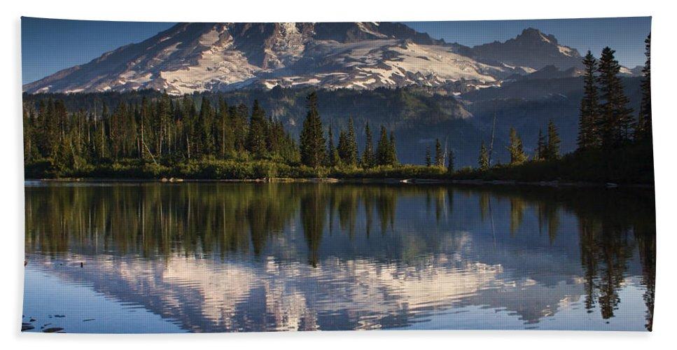 Mount Rainier Bath Sheet featuring the photograph Bench Lake Sunrise by Mark Kiver