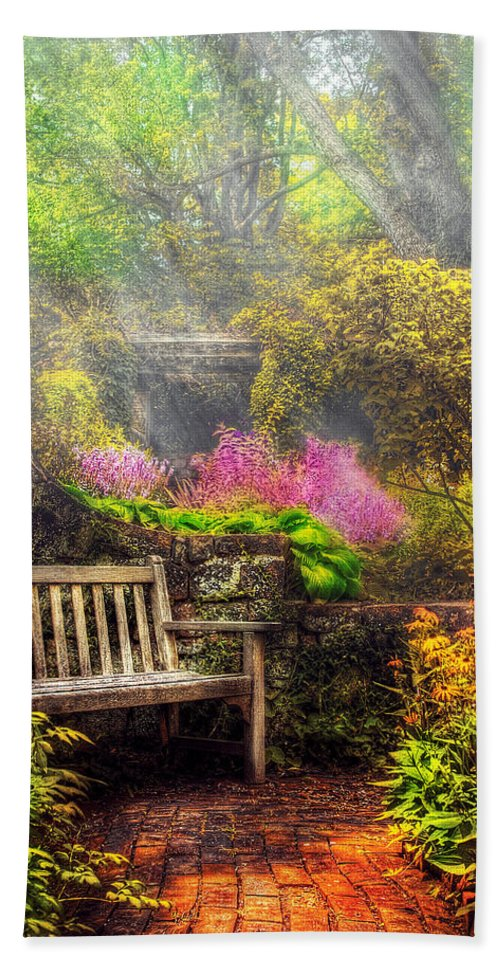 Savad Bath Towel featuring the photograph Bench - Tranquility II by Mike Savad