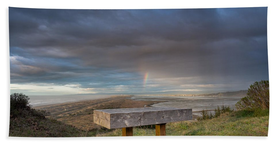 Humboldt Bay Hand Towel featuring the photograph Bench With A View by Greg Nyquist