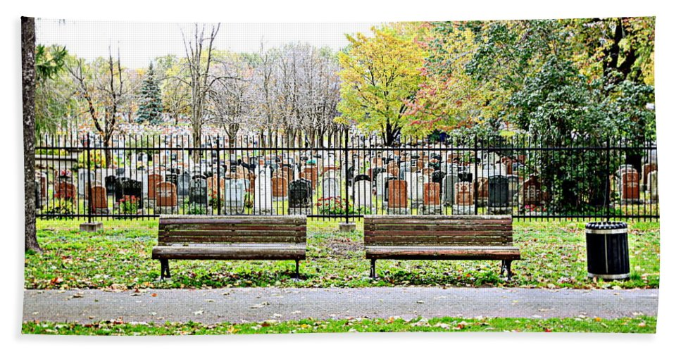 Bench Bath Sheet featuring the photograph Benches By The Cemetery by Valentino Visentini