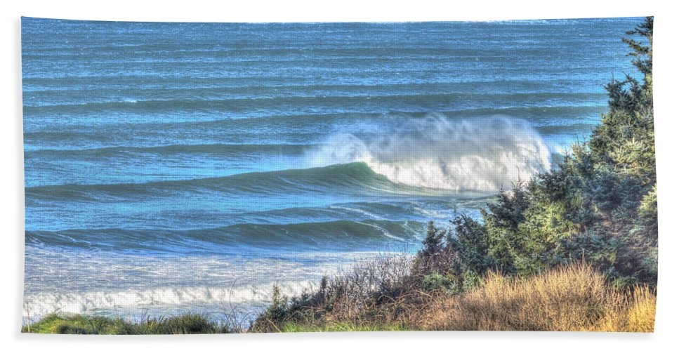 Cannon Beach Hand Towel featuring the photograph Benches On The Beach by John Trax