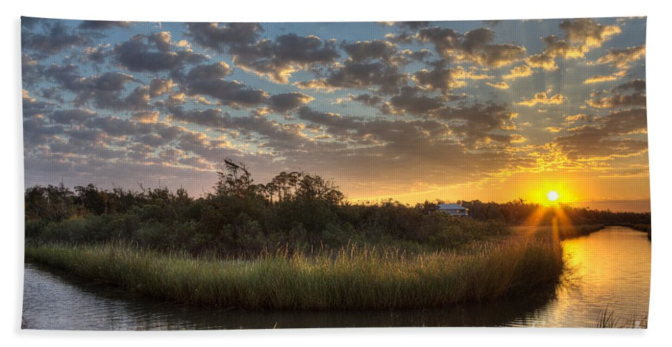Bayou Hand Towel featuring the photograph Bend In The Bayou Sunrise by Joan McCool