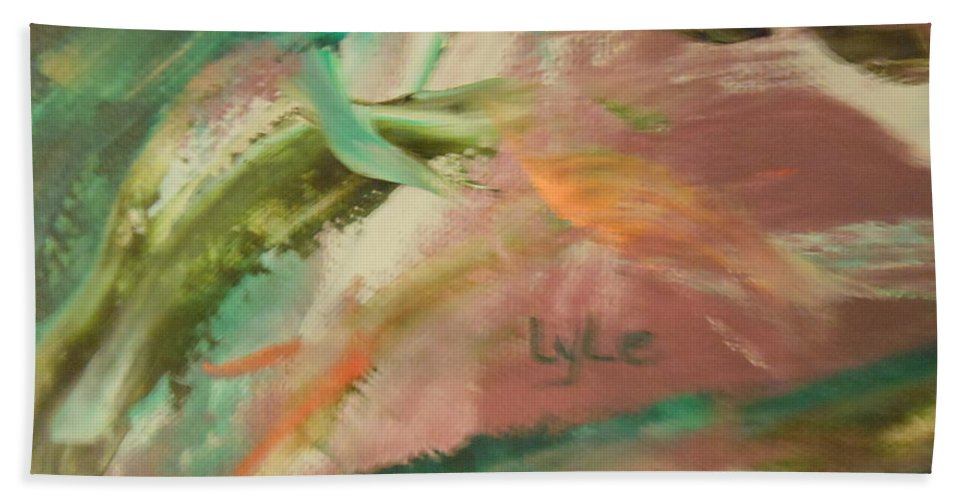 Abstract Hand Towel featuring the painting Bend Me Over by Lord Frederick Lyle Morris - Disabled Veteran