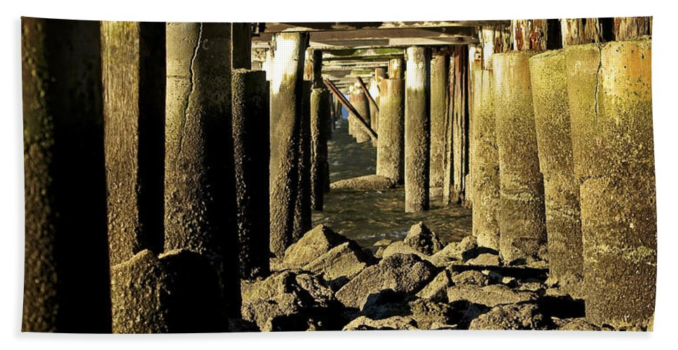 Jetty Hand Towel featuring the photograph Beneath The Pier by Tony Steinberg
