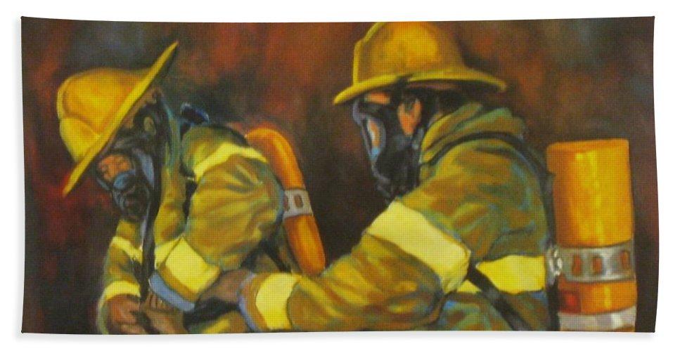Benevolent Warriors Hand Towel featuring the painting Benevolent Warriors by John Malone