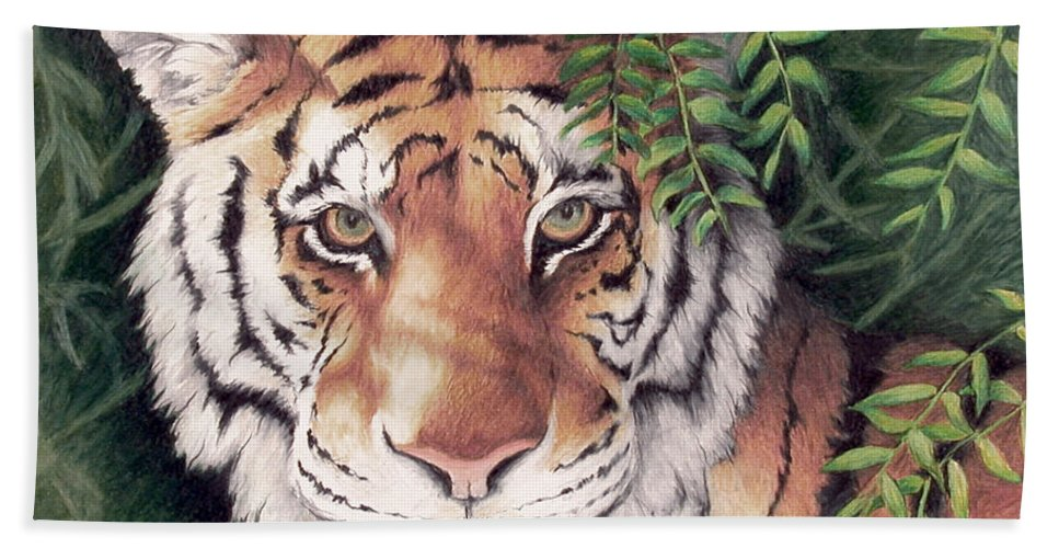 Bengal Tiger Wildlife Animals Cats Nature Predator Hand Towel featuring the painting Bengal Tiger by Mary Zins