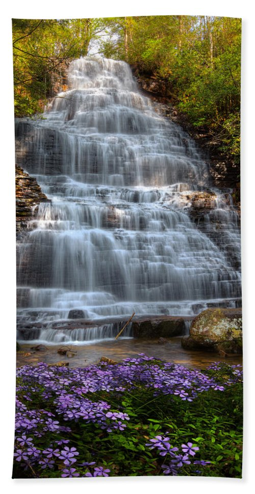 Appalachia Hand Towel featuring the photograph Benton Falls In Spring by Debra and Dave Vanderlaan