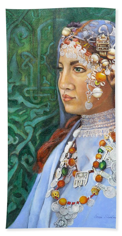 Berber Woman Hand Towel featuring the painting Berber Woman by Portraits By NC