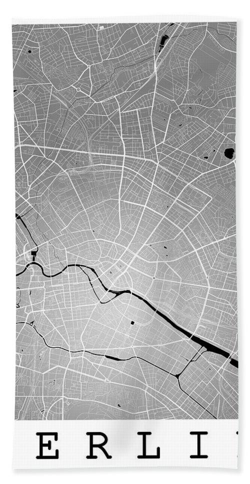 Road Map Hand Towel featuring the digital art Berlin Street Map - Berlin Germany Road Map Art On Colored Backg by Jurq Studio