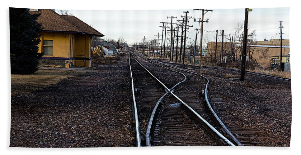 Berthoud Hand Towel featuring the photograph Berthoud R R Station by Jon Burch Photography