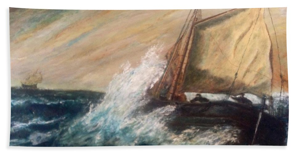 Boat Hand Towel featuring the painting Berts Boat by Judith Desrosiers