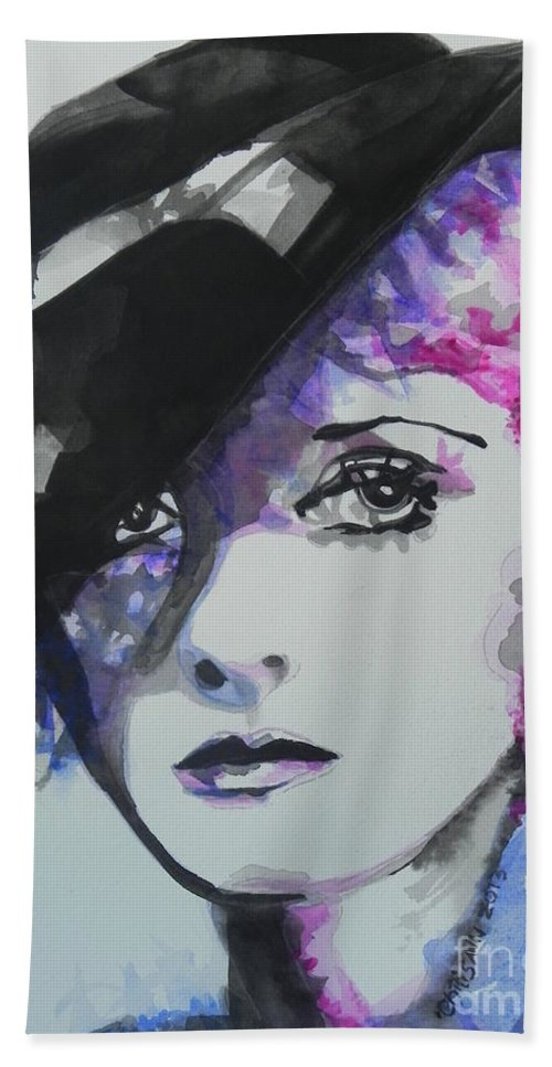 Watercolor Painting Bath Sheet featuring the painting Bette Davis 02 by Chrisann Ellis