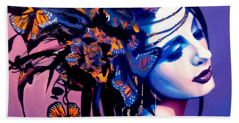 Butterflies Bath Sheet featuring the painting Betty by Jose Manuel Abraham