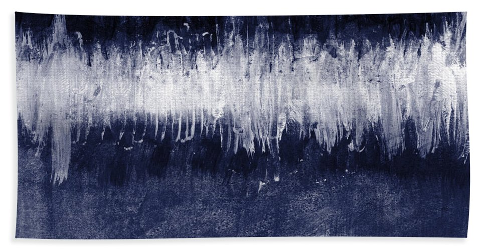 Blue Hand Towel featuring the painting Between Sky and Sea by Linda Woods