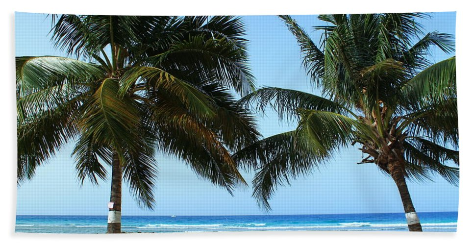 Barbados Bath Sheet featuring the photograph Between The Palms by Catie Canetti