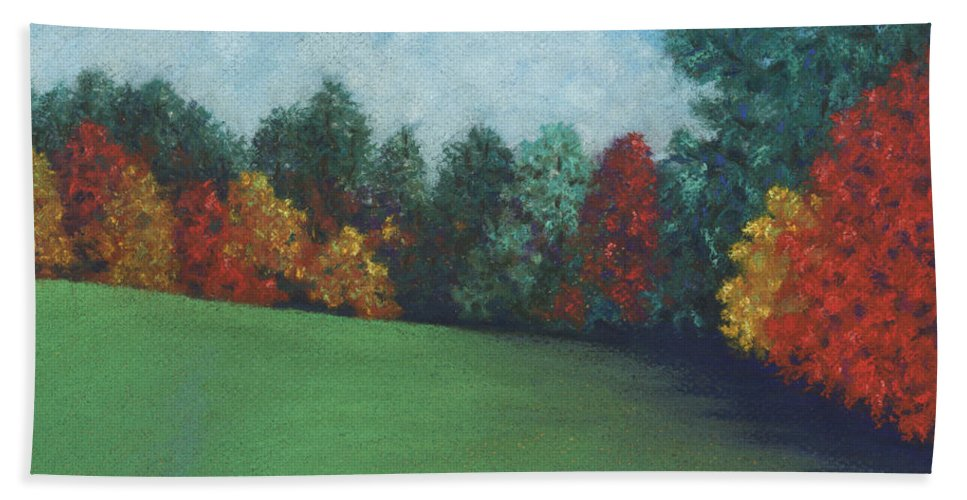 Landscape Bath Sheet featuring the pastel Between The Rainstorms by Anne Katzeff