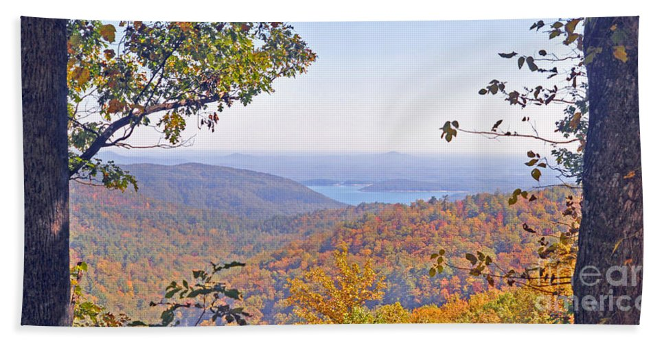 Lake Jocassee Bath Sheet featuring the photograph Between The Trees by Lydia Holly