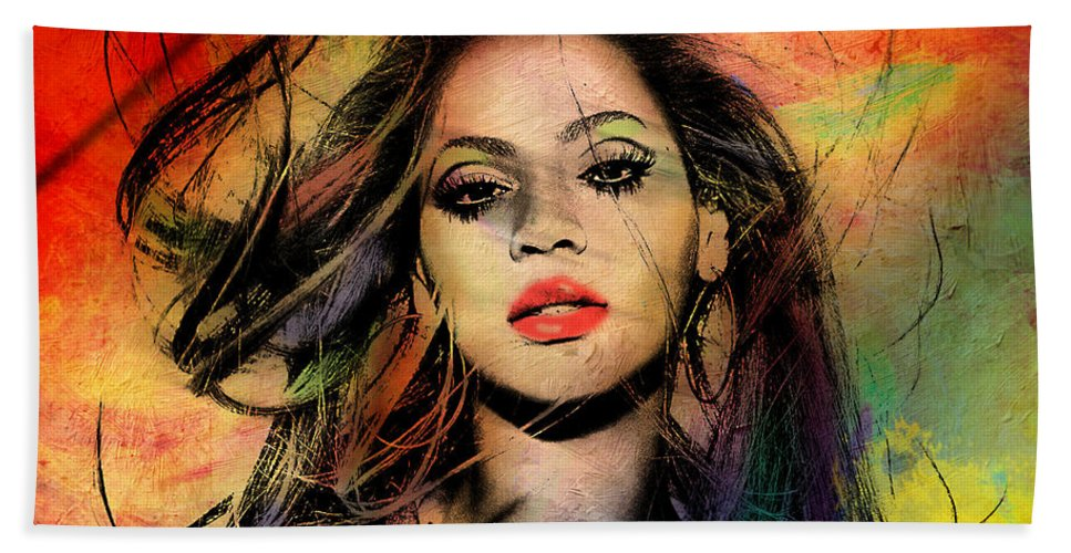 Beyonce Hand Towel featuring the painting Beyonce by Mark Ashkenazi