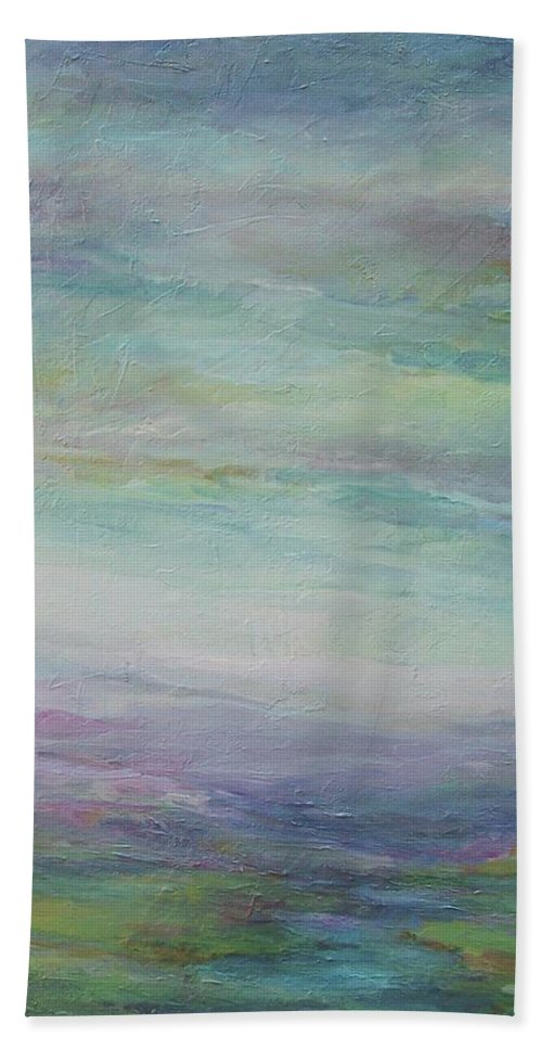 Landscape Bath Sheet featuring the painting Beyond The Distant Hills by Mary Wolf